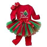 Fenical Tuta per Bambini Natale Il Mio Primo Costume da Pagliaccetto Natalizio Set Natale Tutina per Neonato per Bambina - 4 Pezzi