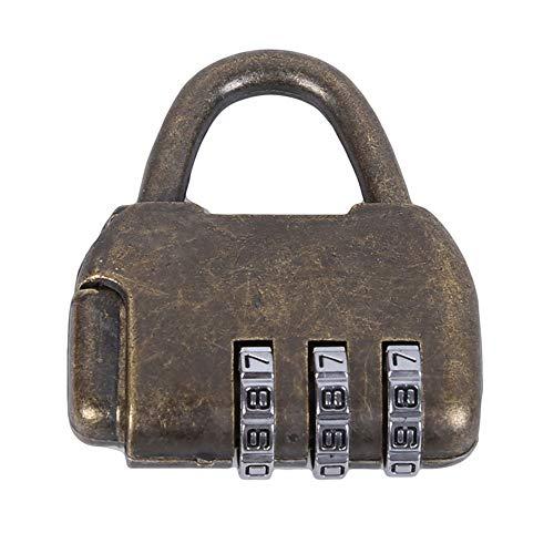 Junlian Aleación Zine Contraseña Cerraduras Vintage Antiguo Chino Estilo antiguo Caja de cofre de joyería Código Contraseña Candado de bloqueo Pequeño
