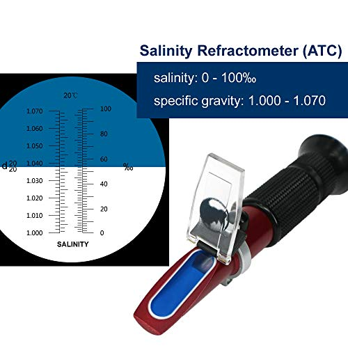 Rhino Salinity(0-100ppt & 1.000-1.070 Specific Gravity)Refractometer with Automatic Temperature Compensation for Seawater and Marine Fishkeeping Aquarium Teflon Coating