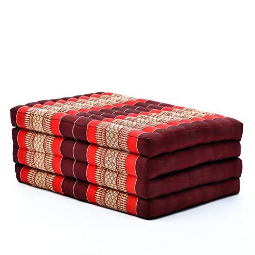 Leewadee futón Plegable Standard – Colchoneta para Doblar de kapok orgánico Hecha a Mano, colchón de Invitados para el Suelo, 200 x 80 cm, Rojo