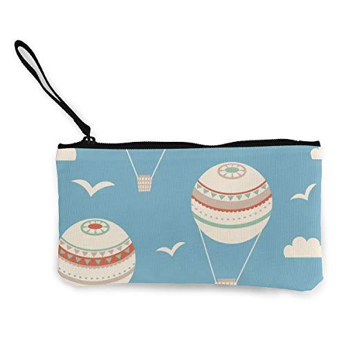 Wrution Geldbörse aus Segeltuch mit Reißverschluss, kleine Geldbörse weiblich, tragbar, große Kapazität, nahtloses Muster mit Luftballons, Vektor-Illustration, personalisierbar