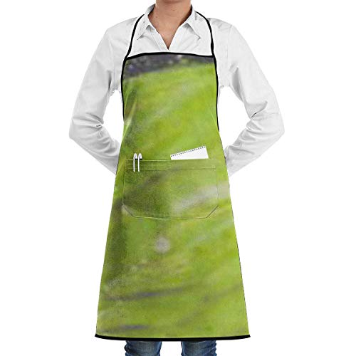 N\A Waterproof Hem Apron with Pocket 52cm 72cm, Unisex Apron Flower Lime Green Daisy Black-3