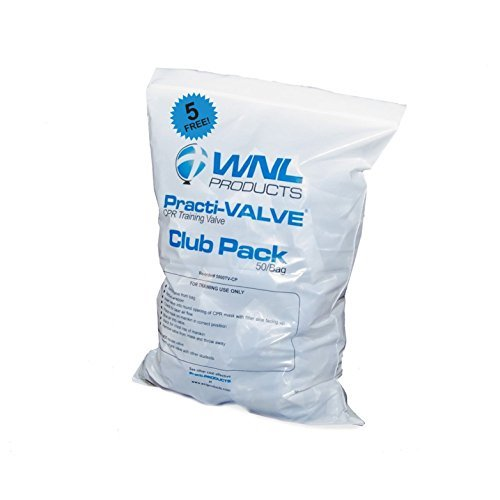 WNL Products 5000TV-CP Practi-Valve CPR Training Valve Fits All WNL Adult Child and Infant Training Masks (55 Valves)