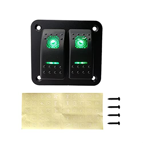 Hardware de mejoras para el hogar 2 Panel de interruptores de Rocker Gang 12-24V LED Impermeable Interruptor Interruptor Interruptor de Circuito para Coche Marine Boat Campper Caravans Travel Trailer