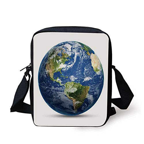World Map,Planet Earth Picture from Space Satellite Continents Clouds Picture,Navy Blue Green White Print Kids Crossbody Messenger Bag Purse