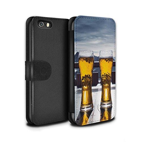 Stuff4 PU Pelle Custodia/Cover/Caso/Portafoglio per Apple iPhone 5/5S / Apres/Capanna di Sci/Birra/Sciare/Snowboard Disegno