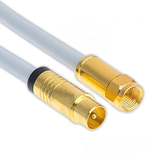 7,5m Koaxial Sat Antennen Kabel 135dB F-Stecker auf Koax Stecker Vergoldet Digital Class A+ Antennenkabel passend für Horizon-Box 3D 4K Ultra HD (7,5m, Weiß)