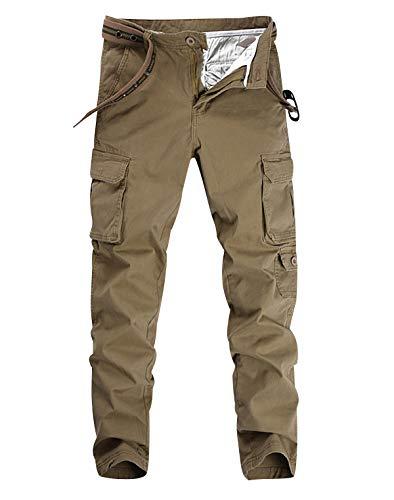 Pantalon Cargo Homme Pantalon Battle Militaire Travail Randonnée Large Pants Multipoches Pantalon Armée Baggy Stretch Slim Ville Fitness Décontracté Trekking Fuselé Vintage Sport Regular Kaki 31