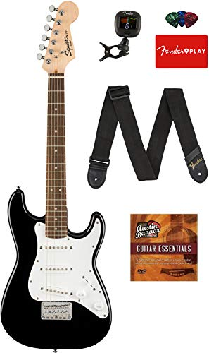 Fender Squier 3/4 Size Kids Mini Strat Electric Guitar - Black Bundle with Tuner, Strap, Picks,...
