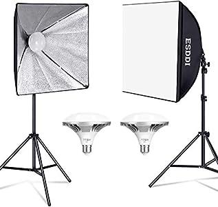 ESDDI Softbox Fotografia Iluminacion Kit con 2 LED Bombillas de Luz, 2 Softbox 50x50cm, 2 Tripodes Luz Continua para Estudio Fotográfico Profesional Conjunto