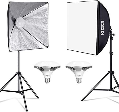 ESDDI Softbox Led 900W Luci Set Fotografico Professionale con 5400K E27 Socket Light, 2 Riflettori 50 x 50 cm,2 Lampadine per Ritratto Prodotto Moda Fotografia