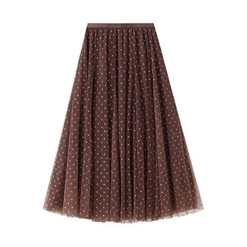 Styeclish Estrellas de Estilo Coreano Tulle Falda Larga Negro Gris Khaki High Cintura Mujer Mujer Plus TAMAÑO Faldas de Malla Khaki One Size