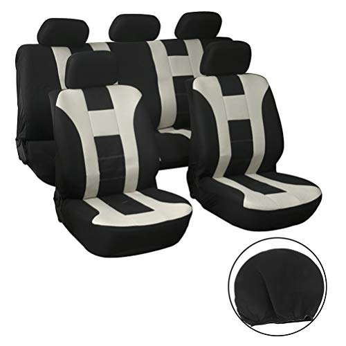 SCITOO Universal Beige/Black Car Seat Cover W/Headrest 9PCS Breathable Mesh Cloth Seat Cushion Replacement for Most Cars
