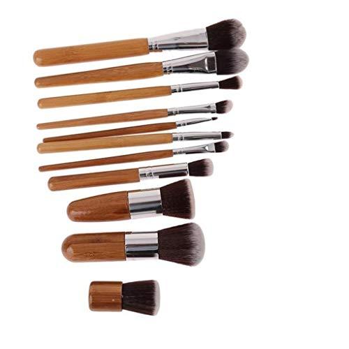 Garispace - Juego de brochas faciales para Maquillaje, Colorete y Corrector de Mango de bambú, 11 Unidades