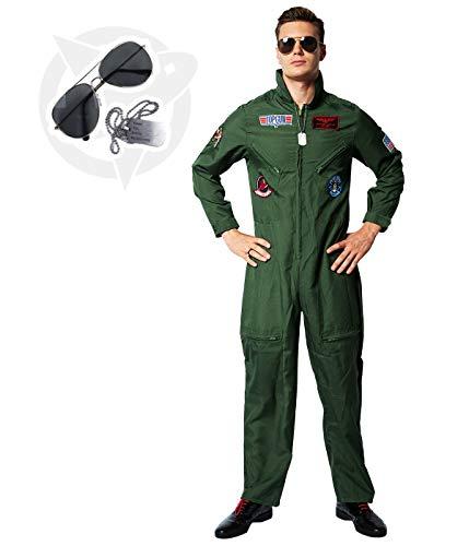 EraSpooky Disfraz de Piloto de Hombre Disfraz de Aviador Disfraz de Fiesta de Halloween Traje de Cosplay para Adulto