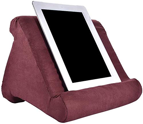 Abbcoert Red Tablet Stand with Net Pocket Universal Multi-Angle Book Rest Reading Pad Support Cushion Tablet Wedge Holder