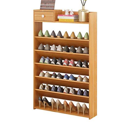 WJJ Zapatos Organizador Zapatero De Pino, del Zapato Atormenta 7-Tercer Zapatos, Ahorro De Espacio De Gran Capacidad De Almacenamiento Sólido Bastidor De Madera, Arce Color (Color : Brown)