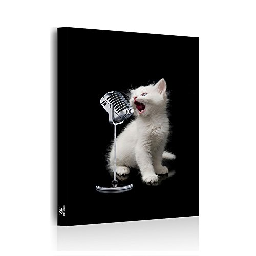 アートパネル モダン 絵画 猫 キャンバス 玄関 インテリア 動物 絵画 油絵 壁飾り 玄関アートパネル 木枠セット 歌う猫 50*75cm