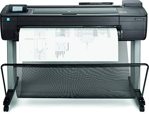 HP DesignJet T730 F9A29A, 91.4 cm, Formati Supportati da A0 ad A4, Velocità 82 Pagine A1 all'Ora, LAN Gigabit, Wi-Fi, Piedistallo e Raccoglitore Incluso, Nero