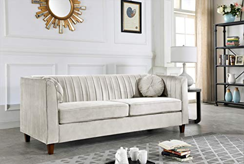 Container Furniture Direct Arvilla Upholstered Chesterfield Sofa, Beige
