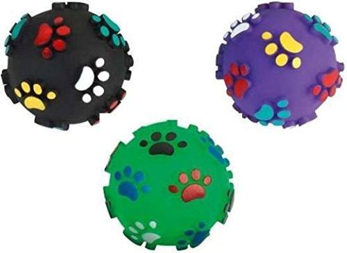Cajou Pfotenball Quietschball Hundeball Spielball für Hunde Spielzeug Ball Hundespielzeug Massageball Apportierspielzeug Bringsel Wurfspielzeug (3 Stück, ø 7 cm)