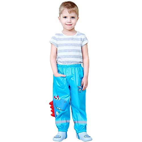 Kinder Regenhose,Regenschutz Wasserhose für Kleinkinder,Jungen Mädchen Mud Dirty Proof Hosen,Kinder Regenbekleidung,Mit Cartoon-Muster und Taschen,wasserdichte Atmungsaktiv(Trikolore) (Blau, L)