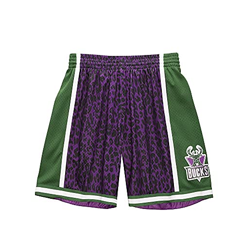 Mitchell & Ness NBA Wild Life Swingman Milwaukee Bucks - Pantalón corto, color morado, Morado / negro / blanco / verde / plateado, XL