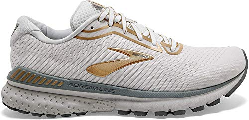 Brooks Womens Adrenaline GTS 20 Running Shoe - White/Grey/Gold - B - 7.0