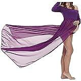 Alueeu Mujer Embarazada Gasa Larga Vestido de Split Vista Delantera Foto Shoot Dress Faldas Fotográficas de Maternidad Nuevo 2021