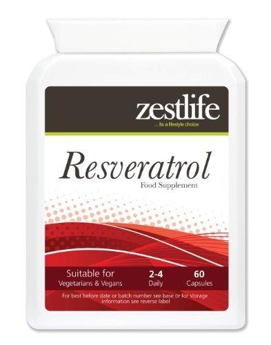 Zestlife RESVERATROLO - 60 capsule resveratrolo è stato trovato per essere più potente ed efficace di vitamine C ed E. Come antiossidante , il resveratrolo aiuta ad abbassare il colesterolo cattivo . E come un antiossidante , il resveratrolo protegge le cellule dai danni ossidativi causati dai radicali liberi .