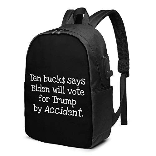 Lsjuee Funny Anti Biden Design Pro Trump 2020 Travel Laptop Backpack with USB Charging Port for Women Men School College Students Backpack Fits 17 Inch Laptop