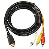 Kacniohen HDMI a RCA 3 Cable HDMI al Adaptador del convertidor del RCA Cordón de conexión del transmisor de una vía de transmisión de HDMI a RCA 1.5m 1PC