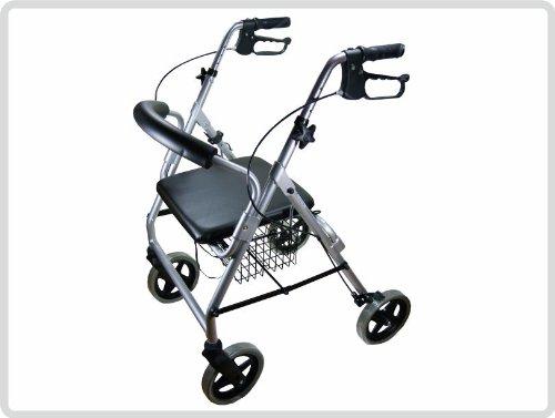 Luxus Rollator Leichtgewicht, Stockhalter, Einkaufskorb und Rückenlehne Farbe Silber - Gehhilfe, Gehwagen *Top-Qualität zum Top-Preis*