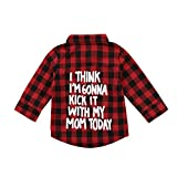 Toddler Kids Boy Girl Long Sleeve Letter Print Button Down Plaid Flannel Shirt Top Flannel Red