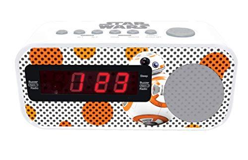 LEXIBOOK RL145SW Star Wars BB-8-Radio Despertador con Reloj Digital, Pantalla LCD, repetición Alarma, alimentación AC, Color Blanco/Naranja