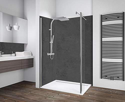 Schulte Duschwand Walk In mit 30 cm beweglichem Element, 100 x 190 cm, 6 mm Sicherheitsglas Klar hell, chromoptik, Montage auf Duschwanne oder Fliese