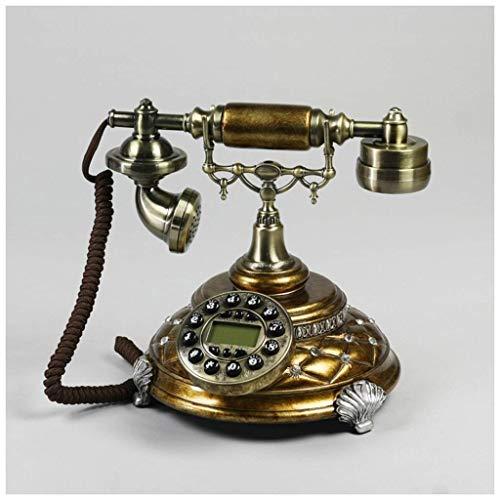 Landline Phones for Home,landline Phones Antique Black Color Phone Stick Drill Diamond Metal Button Carved Home Fixed Phone Retro landline Phone (Color : B)