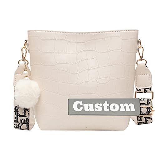 Mini mochila de piel para mujer con nombre personalizado para mujer, bolso cruzado pequeño, color rosa