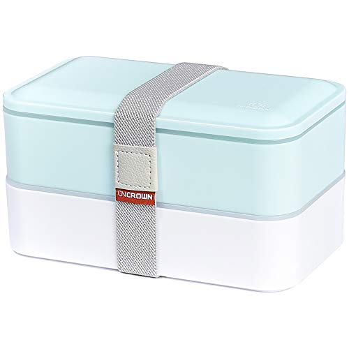 PuTwo Bento Box, Lunch Box, Porta Pranzo Ermetico Lunch, con Set di Posate, Blu, 1200 ml