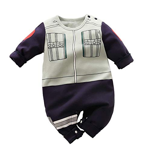 Baby Romper Boys Girls Newborn Cartoon Cosplay Outfits Button Cotton Jumpsuits Long Sleeve Grey&Navy2 0-3 Months/59