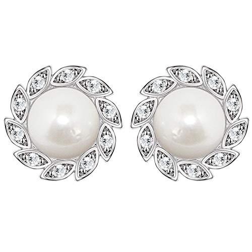LÖB Damen Perlenohrringe 925 Silber rhodiniert mit Zirkonia Strass Steinen Perlen Blume Stecker Ohrringe Ohrstecker Brautschmuck 10mm