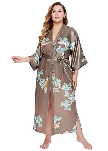 Coucoland Damen Morgenmantel Kimono Große Größen Bademantel Lang Sommer Robe Blumen Muster Leicht Strandkleid Elegant Damen Satin Schlafmantel (Kaffee)