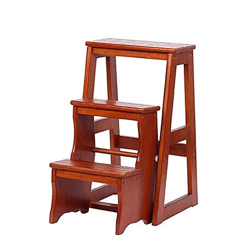 HAOSHUAI Madera Plegable Paso OL for Adultos niños Cocina pequeña Escaleras del pie oles Cubierta Banco de Calzado portátil/Estante de la Flor (Color: Deep Nuez, Tamaño: 3 etapas)