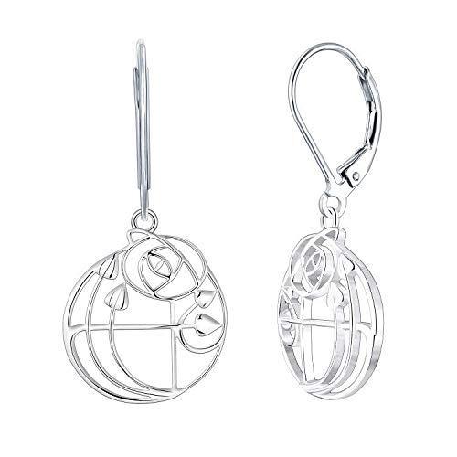 YL Orecchini pendenti argento 925 in argento 925 Charles Rennie MacKintosh Rose Rose Rose Orecchini pendenti per donne Ragazze ragazze Fidanzate
