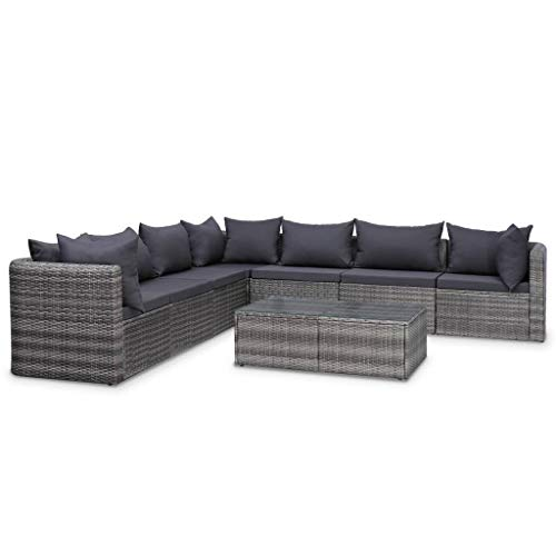 vidaXL 8 Piece Garden Lounge Set with Cushions Outdoor Rattan Sofa Sets Patio Sofa Garden Furniture Set Durable Sturdy Poly Rattan Gray