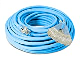 100-ft Extreme 12/3 Heavy Duty 3-Outlet Lighted SJEOW Very-Flexible Cold-Weather Oil-Resistant Rubber Extension Cord By Watt's Wire - 12-Gauge Rugged 15-Amp Three-Prong Power-Cord (100 foot 12-Awg)