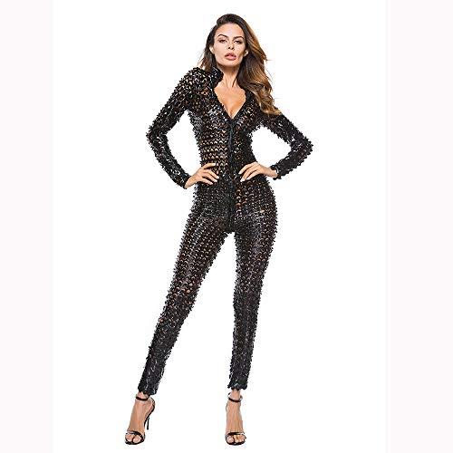 HJG Jumpsuits voor vrouwen, catsuit, rompers voor vrouwen, leren broek vrouwen, wonder vrouw kostuum, Clubwear,Leer, Hollow,Zwart, L