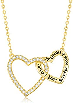 CDE Forever Love Between Mom Daughter Sterling Silver Heart Necklace
