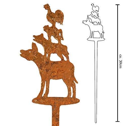 Galionsfigur Bremer Stadtmusikanten | Designer Bumenstecker Edelrost - 30cm hoch, Deko, Bremen Souvenir, Mitbringsel, Gastgeschenk, Made in Germany