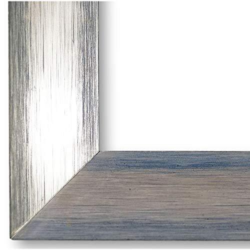 Online Galerie Bingold Bilderrahmen Malta Silber Blau 3,9 I 50 x 70 cm mit Museumsglas (WRU) I handgefertigte Holz Posterrahmen Urkundenrahmen I Holzrahmen mit Glas und Montagematerial